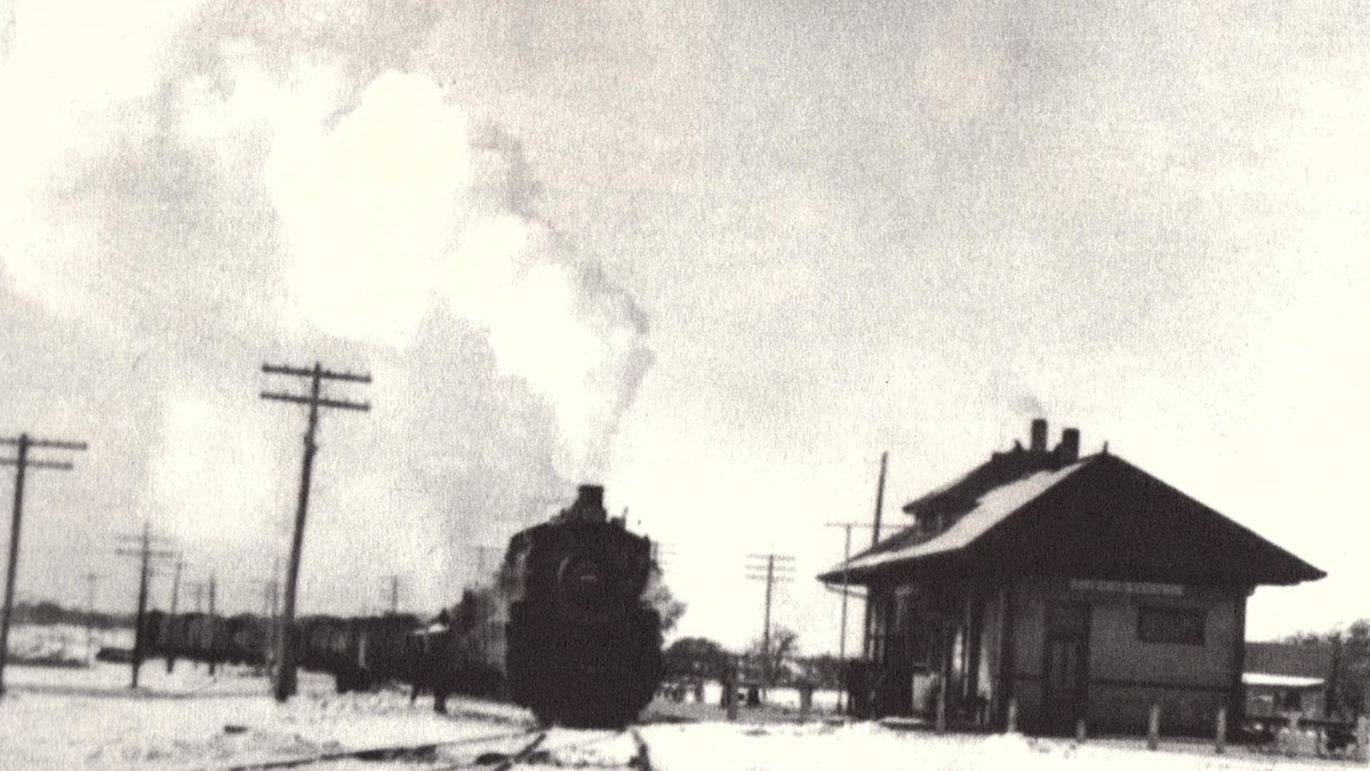 A steam engine rolls into the old Leander train station in the 1920s. The Chamber of Commerce is working with the Leander City Council to create concrete steam engines to be placed around the city to celebrate Leander's founding as a railroad town.