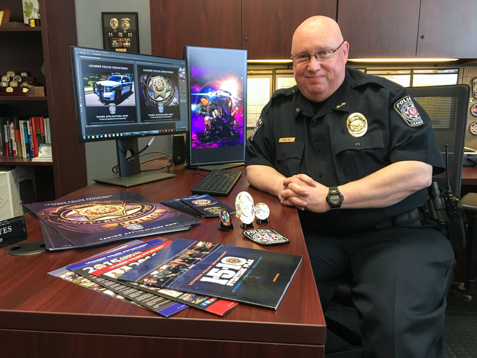 Jeffery Hayes, the Leander assistant chief of police, is also a self taught graphic artist. Hayes has developed an international reputation for his creative designs for posters, book covers and logos.