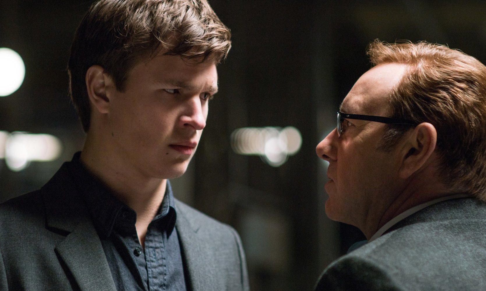"Ansel Elgort and Kevin Spacey star in ""Baby Driver."""