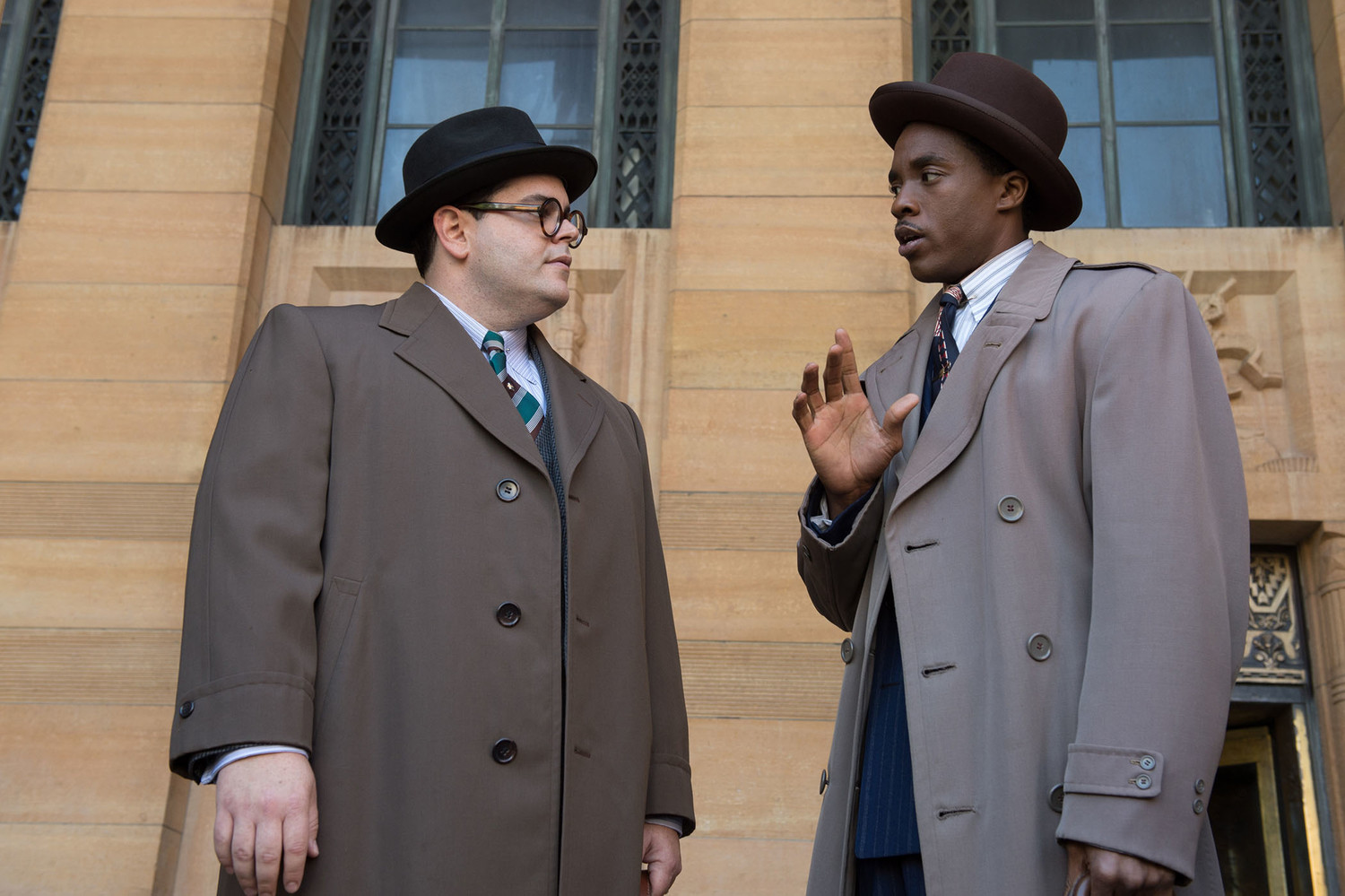 "Chadwick Boseman (right) and Josh Gad (left) star in ""Marshall"", the film portrayal of Thurgood Marshall's early days as a lawyer for the NAACP."