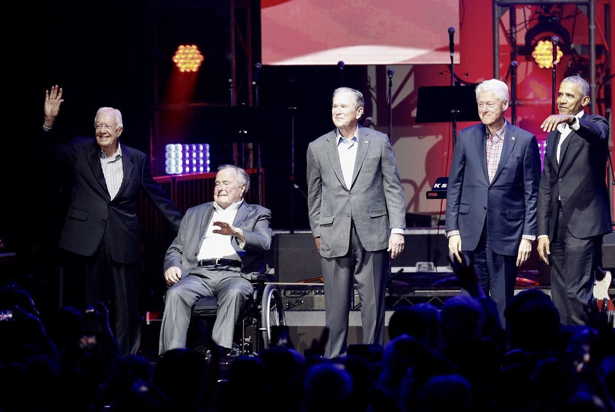 "Former Presidents Jimmy Carter, George H.W. Bush, George W. Bush, Bill Clinton and Barack Obama at a concert benefiting hurricane relief efforts called ""Deep From the Heart: The One America Appeal,"" in College Station on Saturday, Oct. 21, 2017."