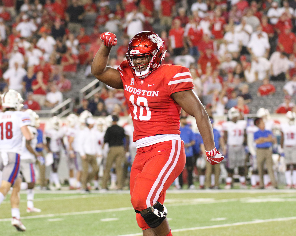 Houston Cougars defensive tackle Ed Oliver (10) has 42 total tackles this season, including seven tackles-for-loss and 1.5 sacks, headed into Saturday's matchup with USF.