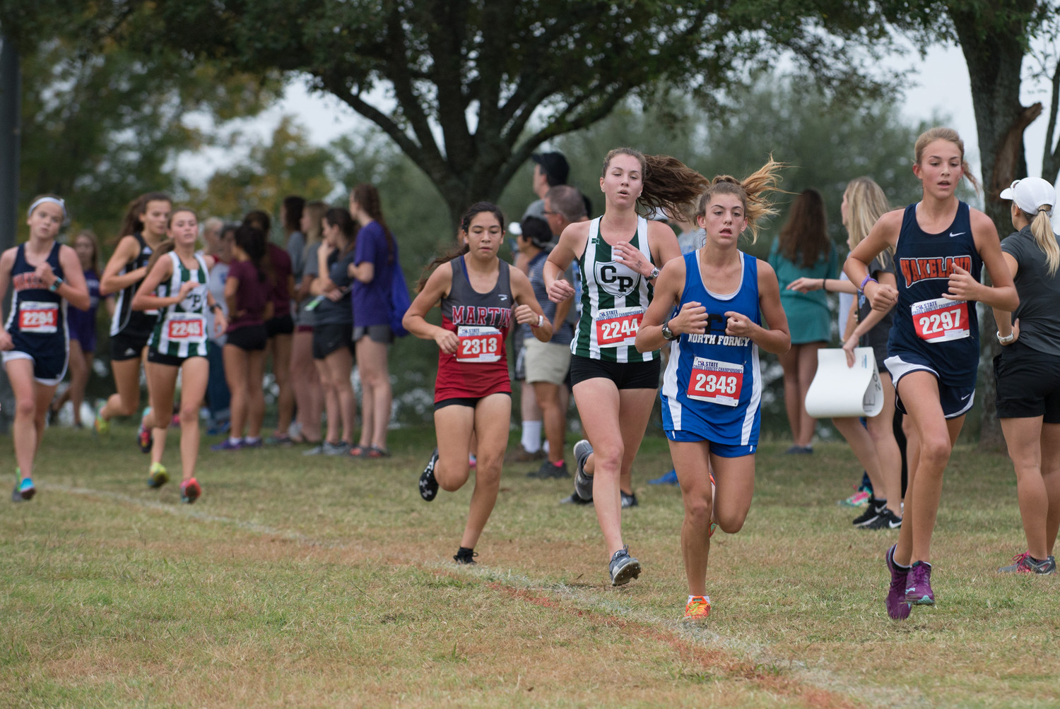 Kaitlyn Childress of Cedar Park High School runs in the UIL Cross Country State Meet at Old Settlers Park in Round Rock, Texas, on Saturday, Nov. 4, 2017. A freshman, Childress was the top finisher among all Leander ISD girls in the Class 5A race, with a time of 19:06.44.