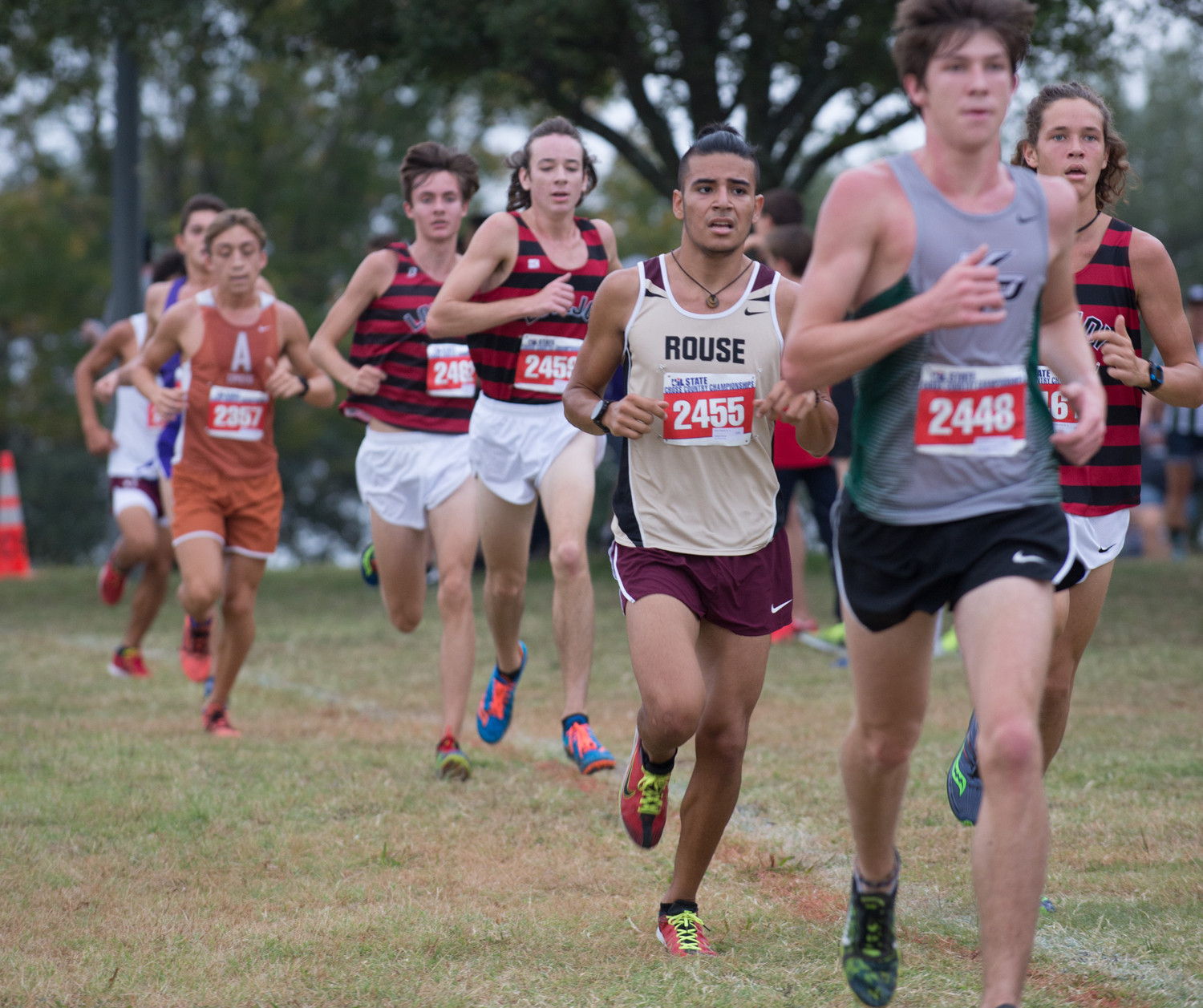 Danny Madrid of Rouse High School runs in the UIL Cross Country State Meet at Old Settlers Park in Round Rock, Texas, on Saturday, Nov. 4, 2017. Madrid finished the Class 5A boys race with an overall time of 16:03.63.
