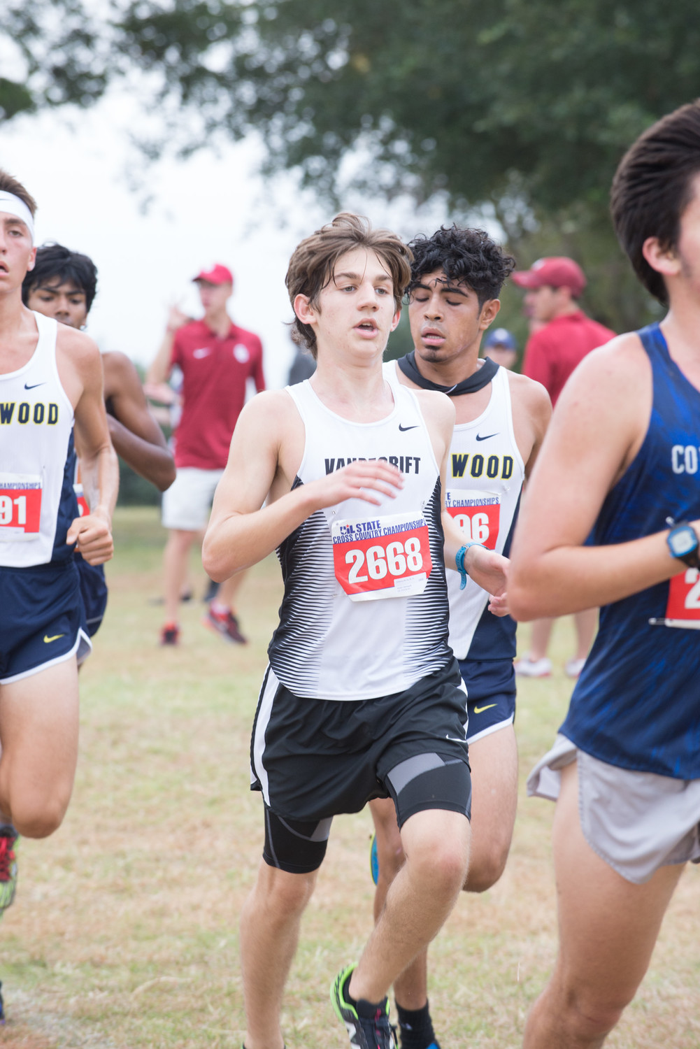 Anthony Monte of Vandegrift High School runs in the UIL Cross Country State Meet at Old Settlers Park in Round Rock, Texas, on Saturday, Nov. 4, 2017. Monte finished the Class 6A boys race with an overall time of 16:26.07.