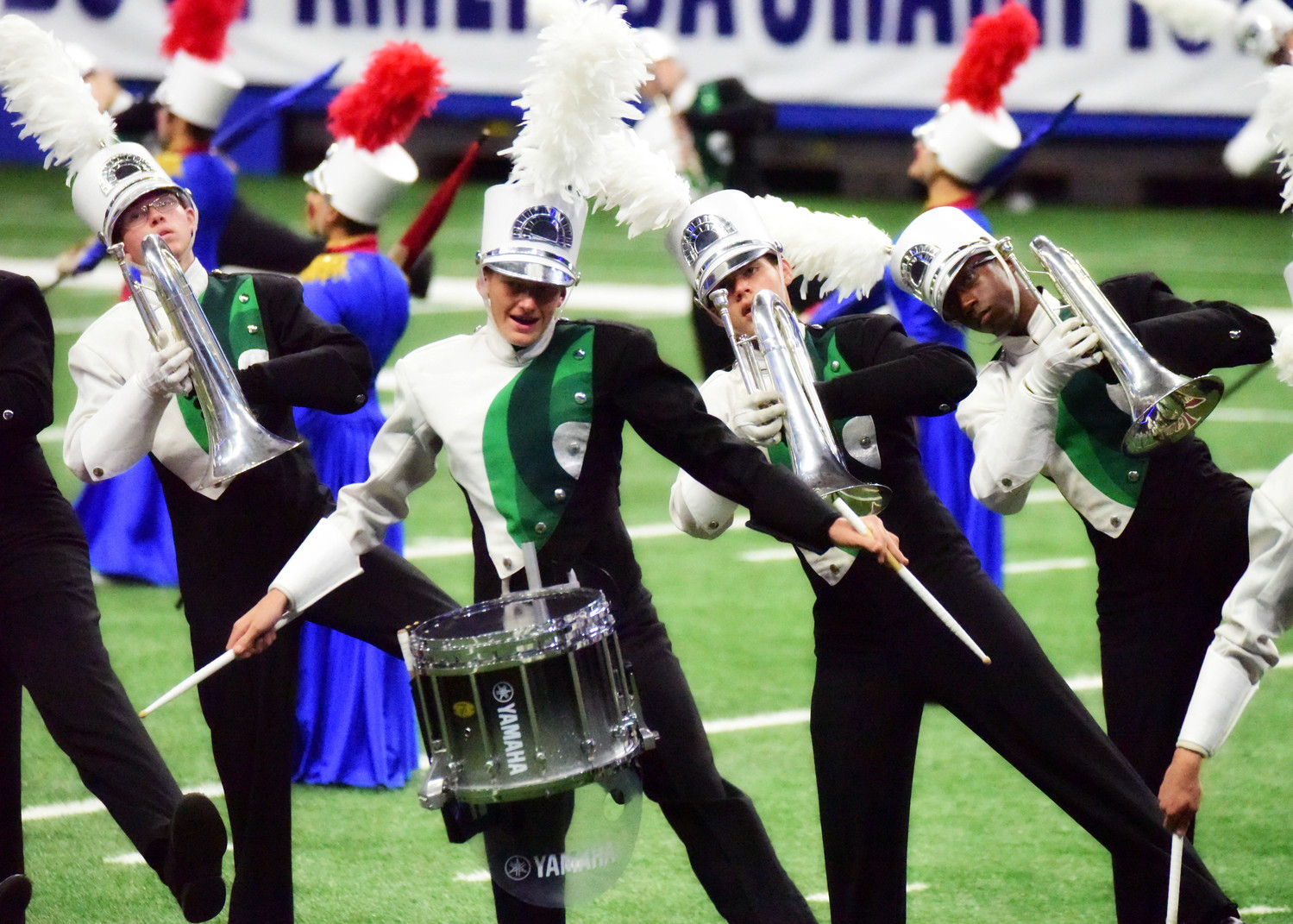 The Cedar Park High School marching band performs The Steadfast Tin Soldier during the UIL State Marching Band Competition at the Alamodome, Nov. 8.
