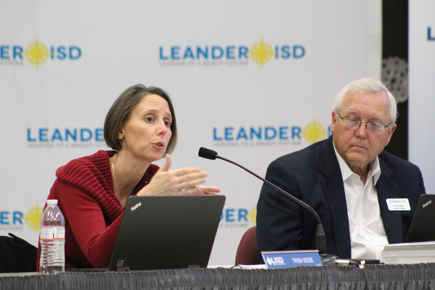 Place 1 LISD Trustee Trish Bode (left) inquires about the district moving forward with District of Innovation status and its implications at their Dec. 7 meeting.