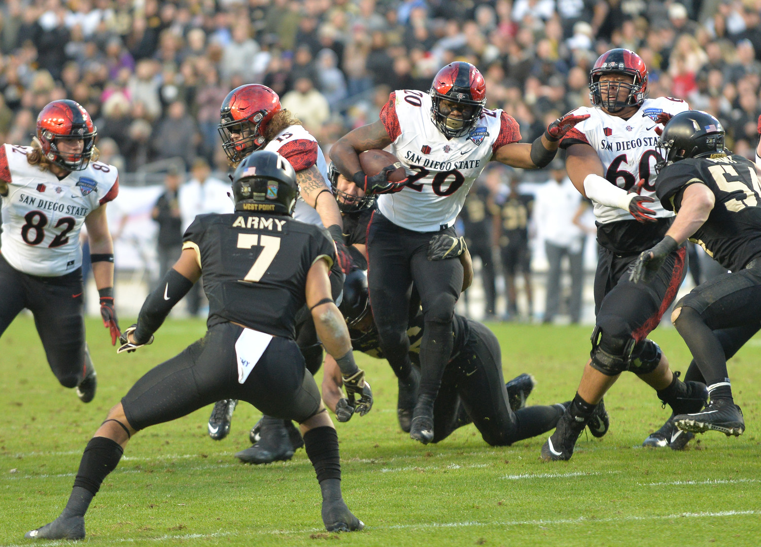 San Diego State running back Rashaad Penny, who finished with a school-record 2,248 rushing yards this season, had his fifth straight game with at least 200 yards, rushing for 221 yards and four touchdowns in the Aztec's loss to Army in the Armed Forces Bowl.
