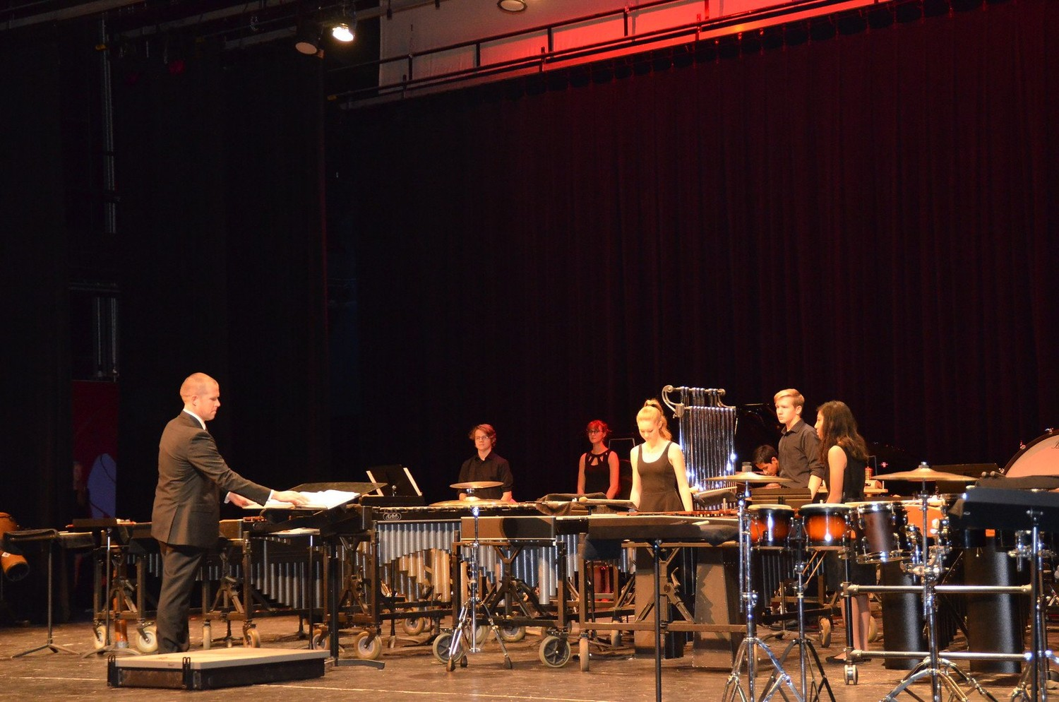 Students from the Vandegrift High School band perform a percussion ensemble at the Midwest Clinic in Chicago in Dec. 22.