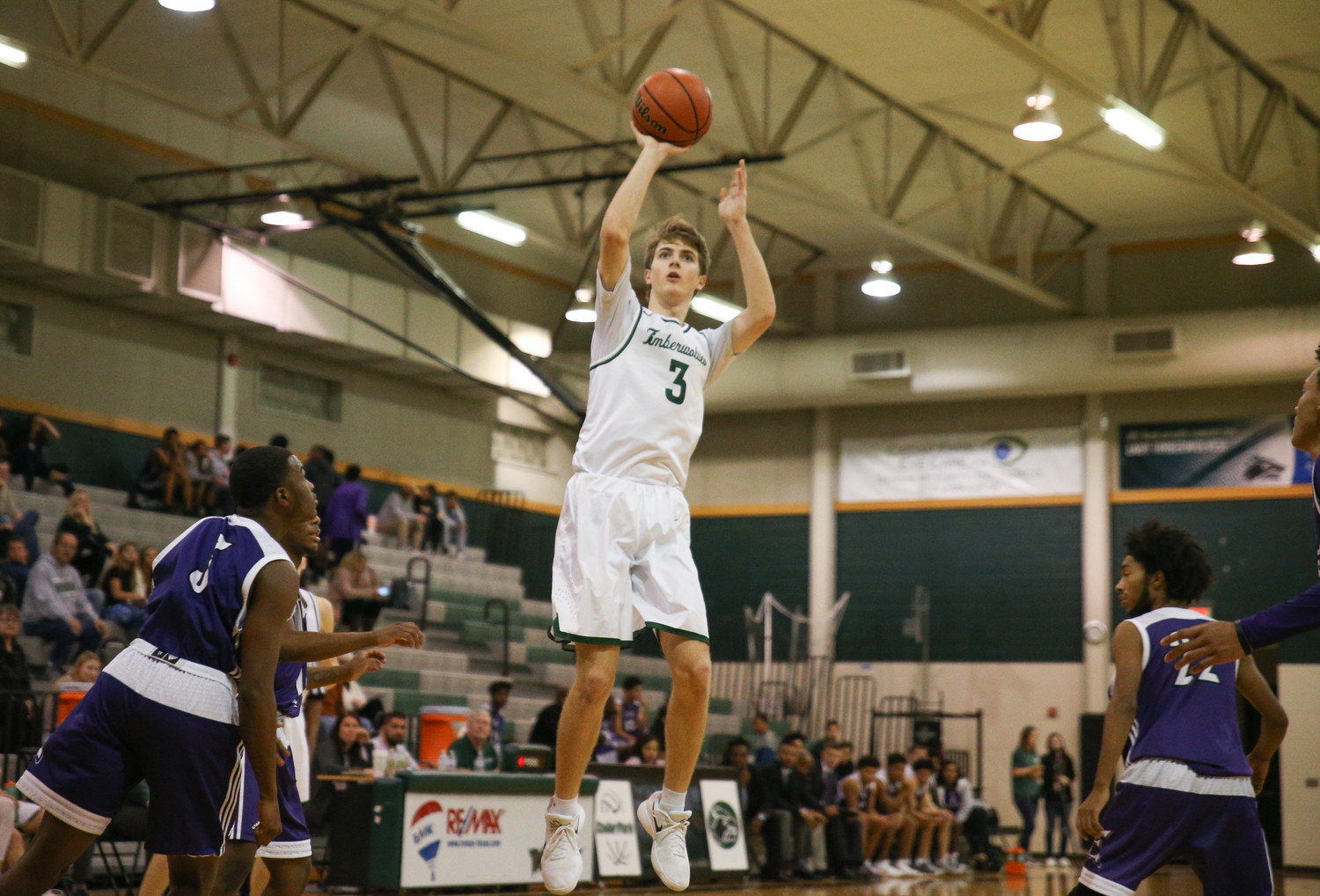 Cedar Park Timberwolves senior small forward Eric Weeks (3) shoots a jump shot during a high school basketball game between the Cedar Park Timberwolves and the Elgin Wildcats at Cedar Park High School in Cedar Park, Texas on January 12, 2018.