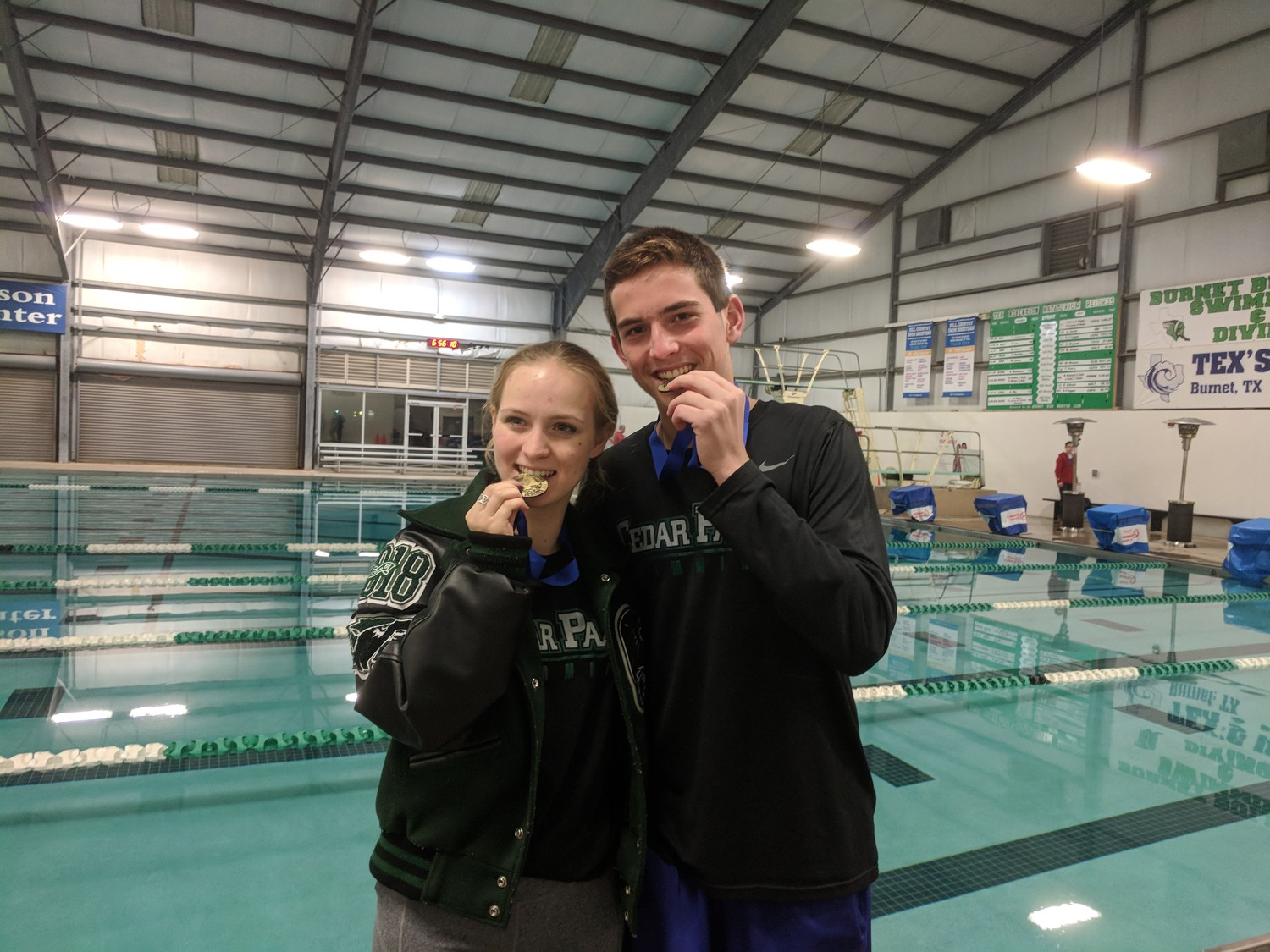Cedar Park's Nicole Massaro and Dylan Sullivan took first place in diving at the district meet last week.