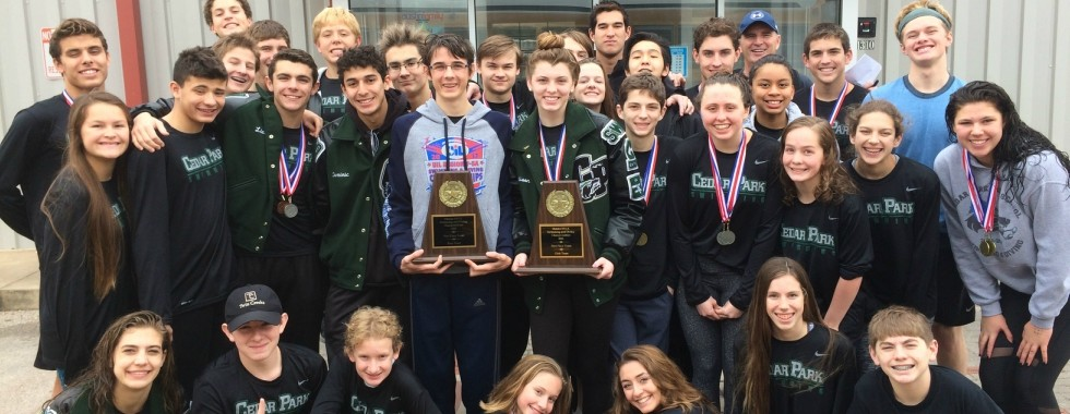 The Cedar Park boys' and girls' swim teams swept the 19-5A District meets last week.