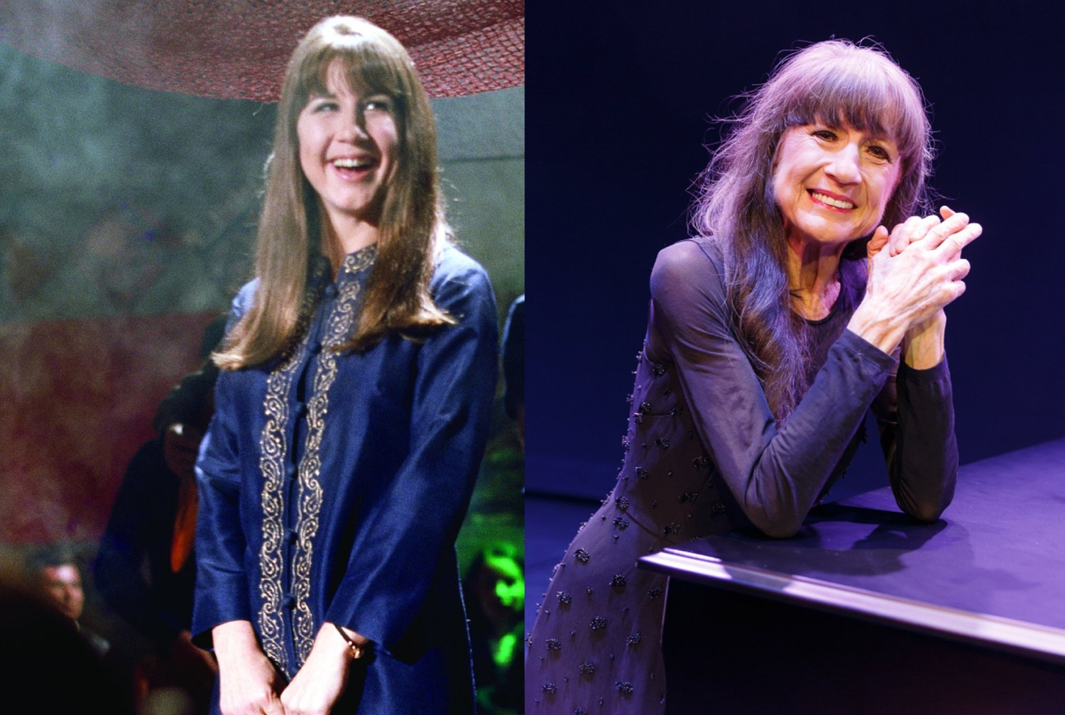 Judith Durham, lead singer of late 60s music group The Seekers, then and now.