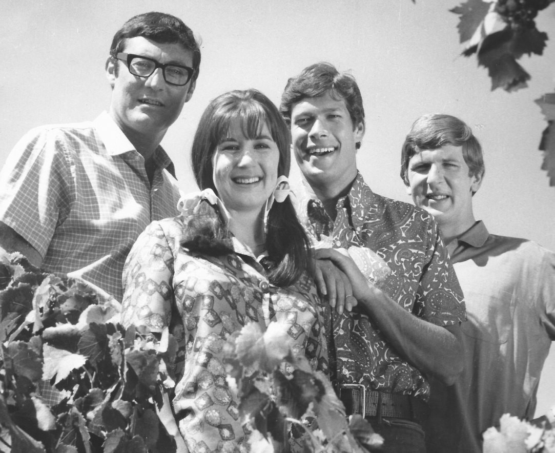 Judith Durham (front, center) with her Seekers bandmates, (left to right) Athol Guy, Keith Potger and Bruce Woodley.