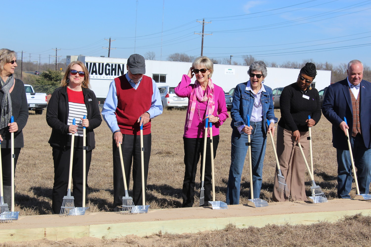 "Williamson County and city officials from Cedar Park, Round Rock break ground with pet-themed ""pooper scoopers"" for the Wilco Regional Animal Shelter expansion project at 1855 SE Inner Loop in Georgetown, Wednesday, Jan. 24."