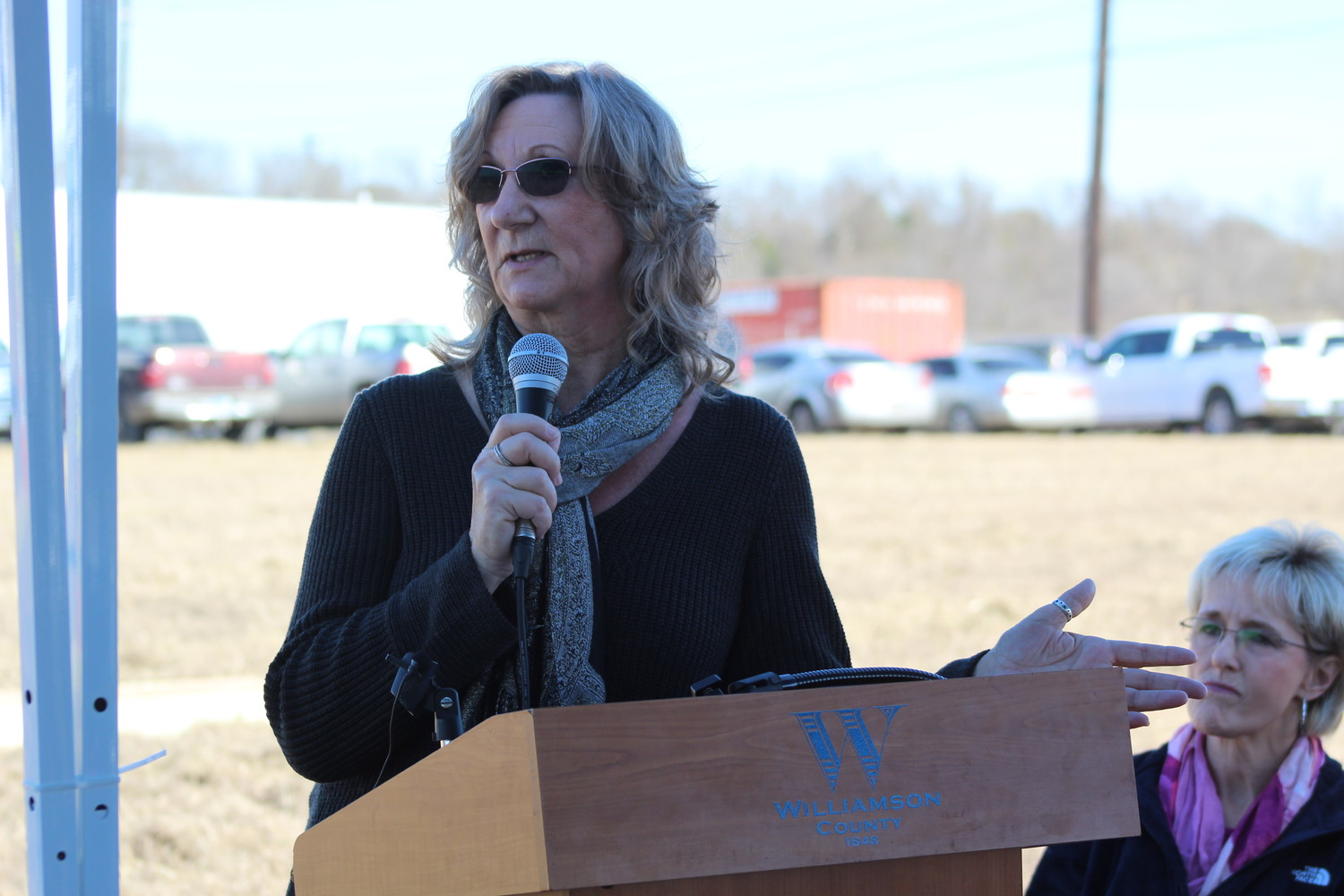 Williamson County Regional Animal Shelter Executive Director Cheryl Schneider speaks at the groundbreaking ceremony for the Wilco Regional Animal Shelter expansion project, Wednesday, Jan. 24.