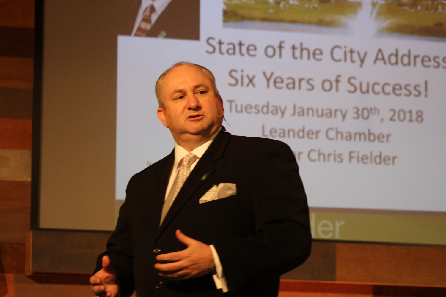 Leander Mayor Chris Fielder speaks at his final State of the City address at Hill Country Bible Church in Leander, Tuesday, Jan. 30.
