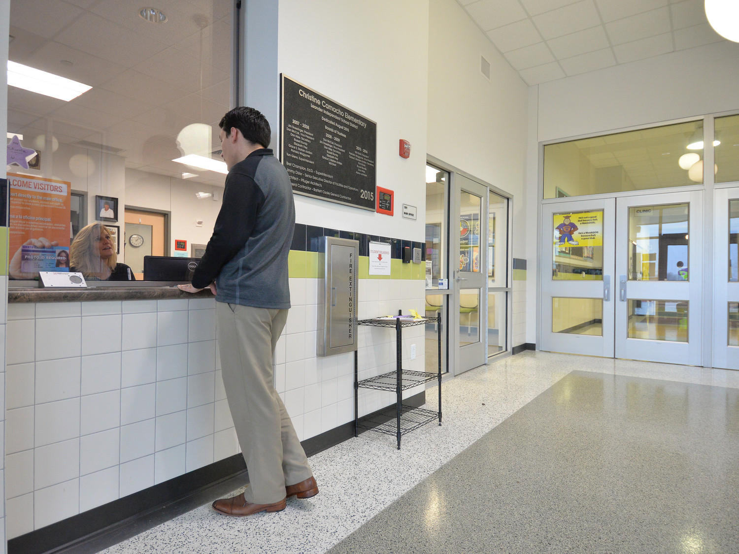Visitors to LISD elementary schools must enter through secure vestibules forcing them to check in at the main office and provide their driver's license which is scanned and checked against a sex-offender database.