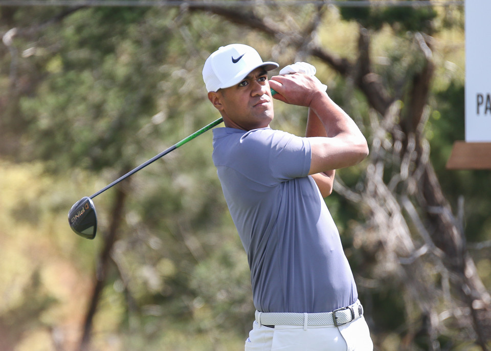 Tony Finau tees off on No. 2 on the first day of the World Golf Championships Match Play Tournament at Austin Country Club in Austin, Texas, on Wednesday, March 21, 2018.