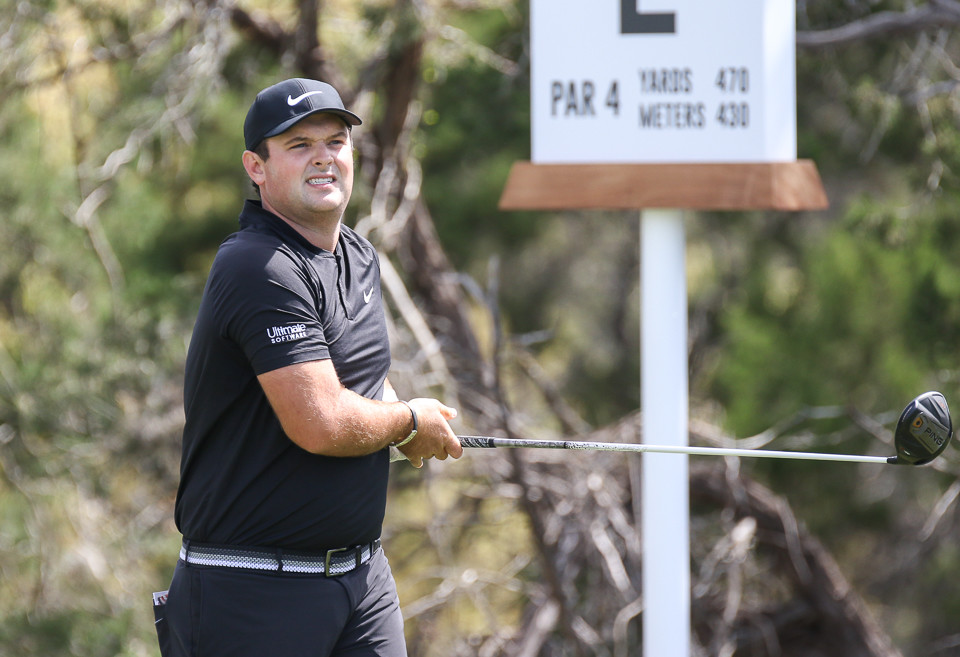 Patrick Reed watches his tee shot on No. 2 on the first day of the World Golf Championships Match Play Tournament at Austin Country Club in Austin, Texas, on Wednesday, March 21, 2018.