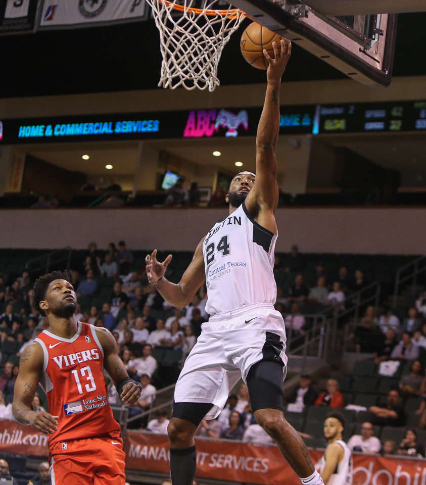 Austin Spurs forward Darrun Hilliard (24) goes up for a layup during the second-round NBA G-League playoff game between the Austin Spurs and the Rio Grande Valley Vipers at H-E-B Center in Cedar Park, Texas, on April 2, 2018.