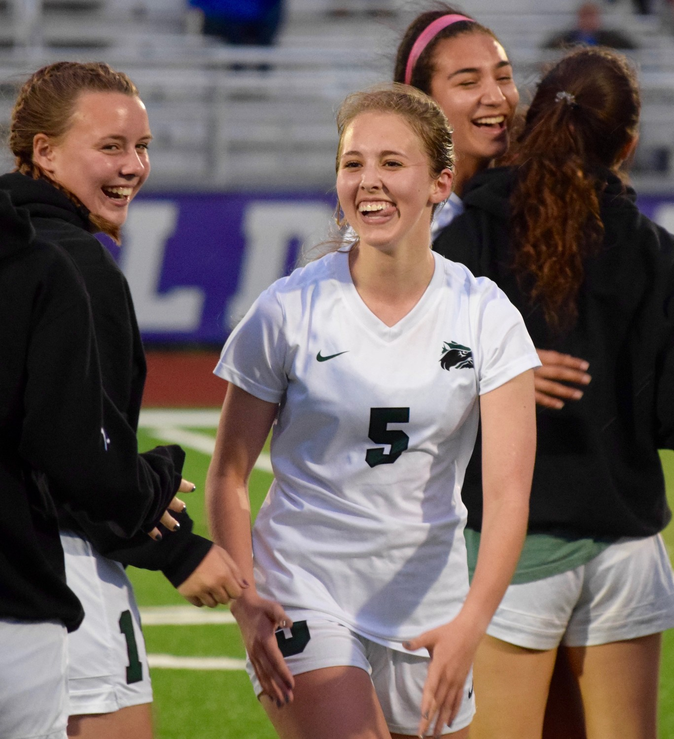 Autumn Forbes celebrates after Cedar Park beat College Station 2-1 in the third round of the playoffs Tuesday night.