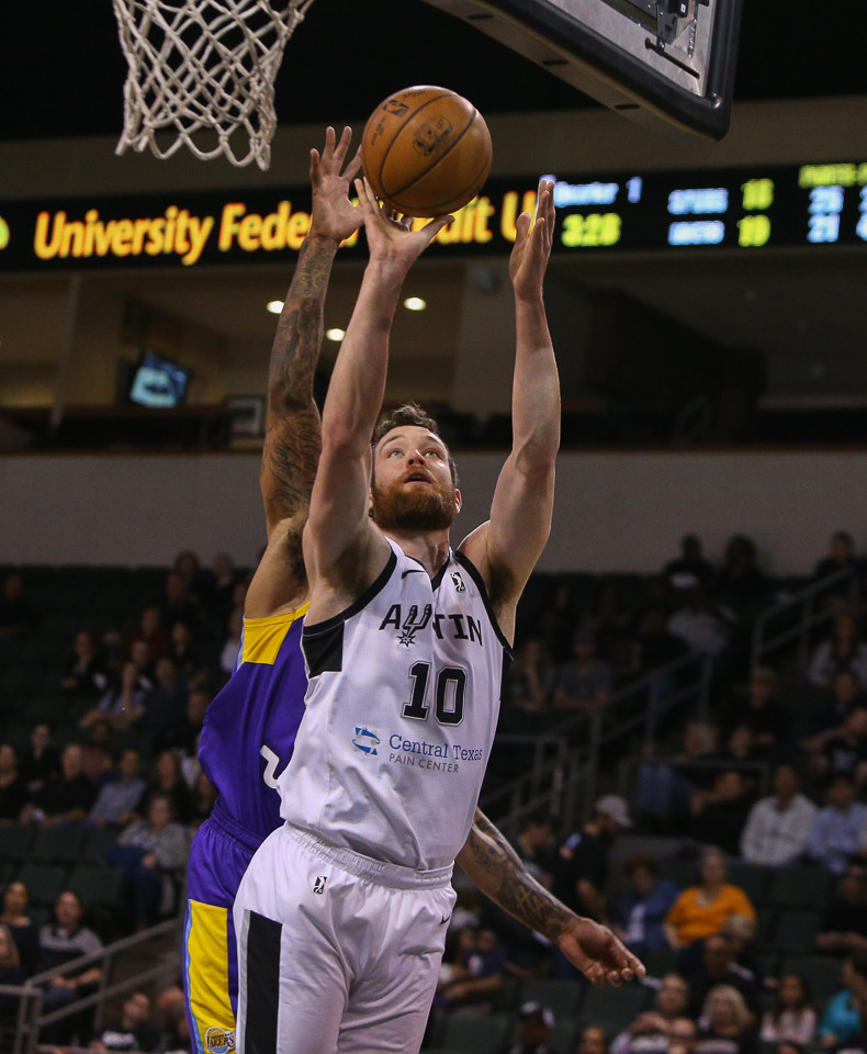 Austin Spurs forward Matt Costello (10) takes a shot under the basket during the NBA G-League West Conference Finals between the Austin Spurs and the South Bay Lakers at H-E-B Center in Cedar Park, Texas, on April 5, 2018.