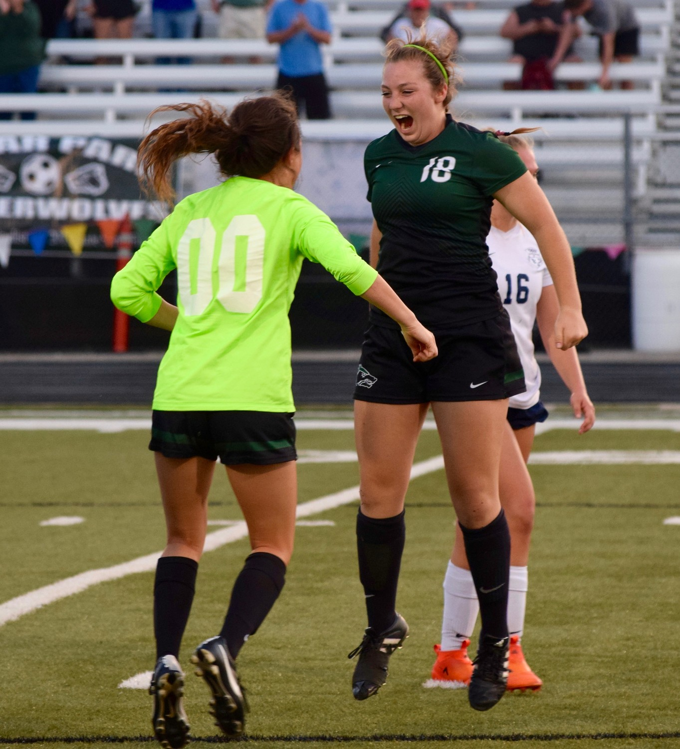 Ava Bear celebrates after Cedar Park beat Tomball Memorial 1-0 in Bastrop on Friday to advance to the regional semifinals.