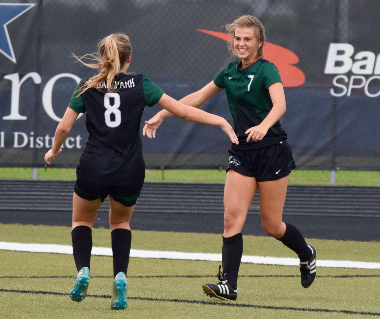 Jewell Resseguie celebrates after scoring a goal as Cedar Park beat Tomball Memorial 1-0 in Bastrop on Friday to advance to the regional semifinals.