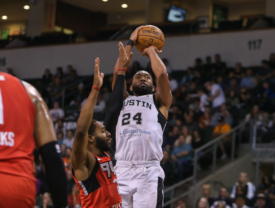 Austin Spurs forward Darrun Hilliard (24) goes up for a shot during Game 1 of the NBA G-League finals between the Austin Spurs and the Raptors 905 at HEB Center in Cedar Park, Texas, on April 8, 2018.
