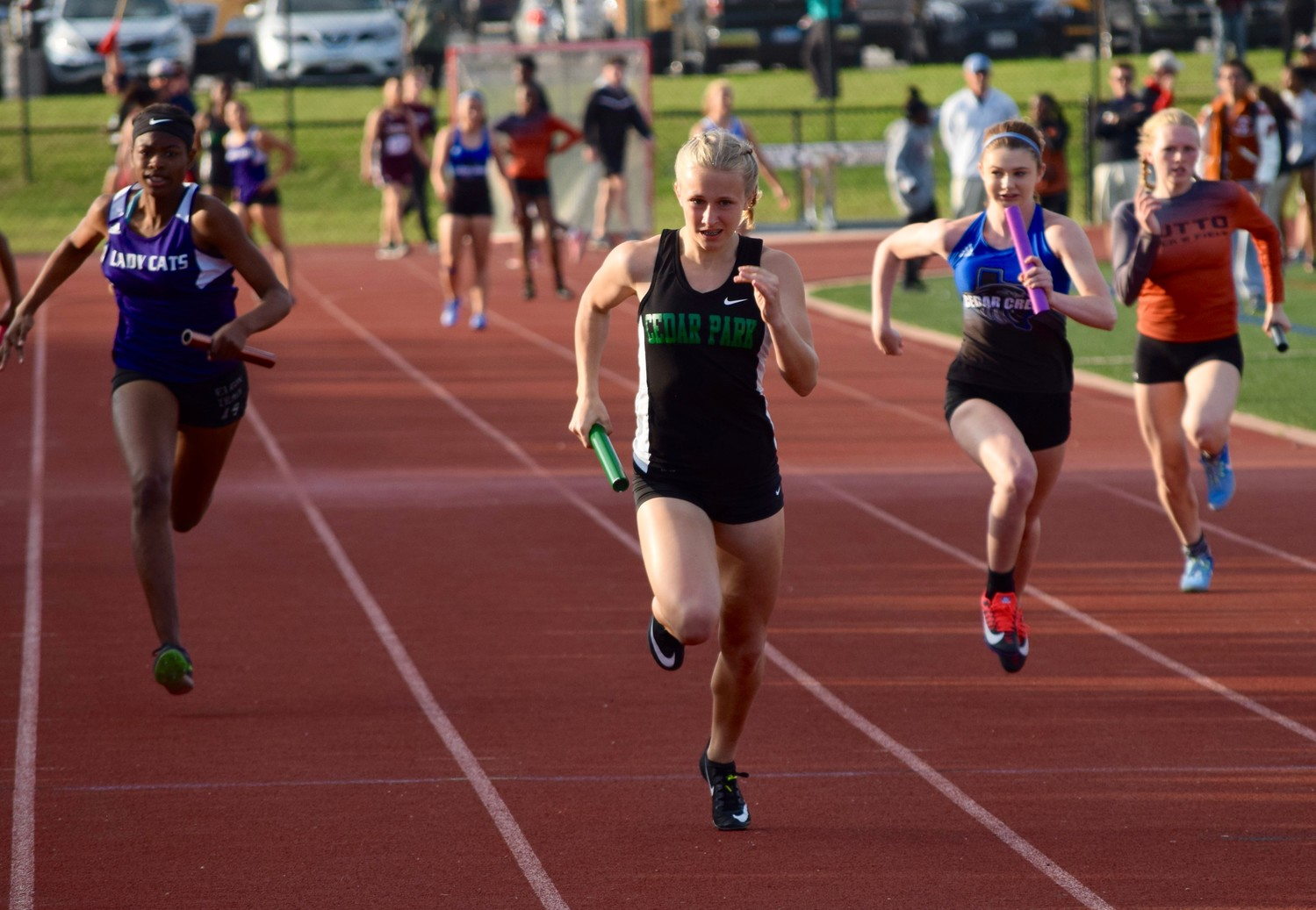 Megan Wilcox and the Cedar Park girls' 4x100 meter relay team finished in second place at the District 19-5A track meet on Thursday. Wilcox also won the girls' 100-meter dash with a time of 11.92.