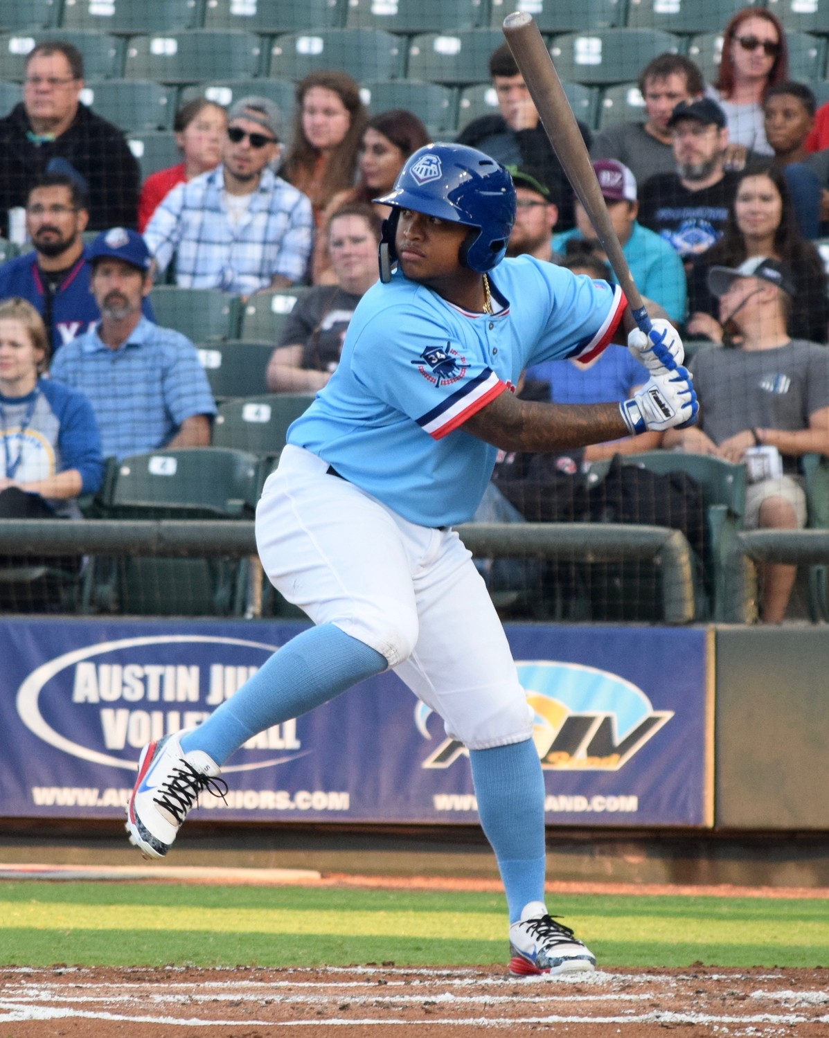 Willie Calhoun and the Round Rock Express beat the Colorado Springs Sky Sox 6-1 on Saturday.