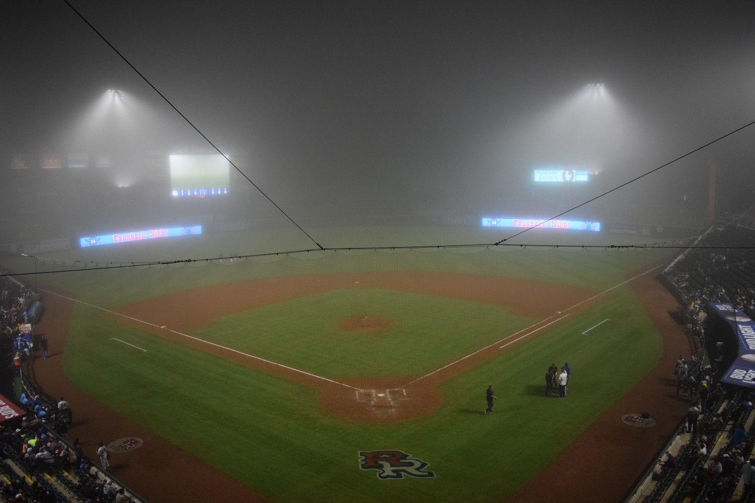 Dense fog delayed the Express game agaisnt the Colorado Springs Sky Sox for more than 30 minutes during the eighth inning on Saturday. Round Rock won 6-1.