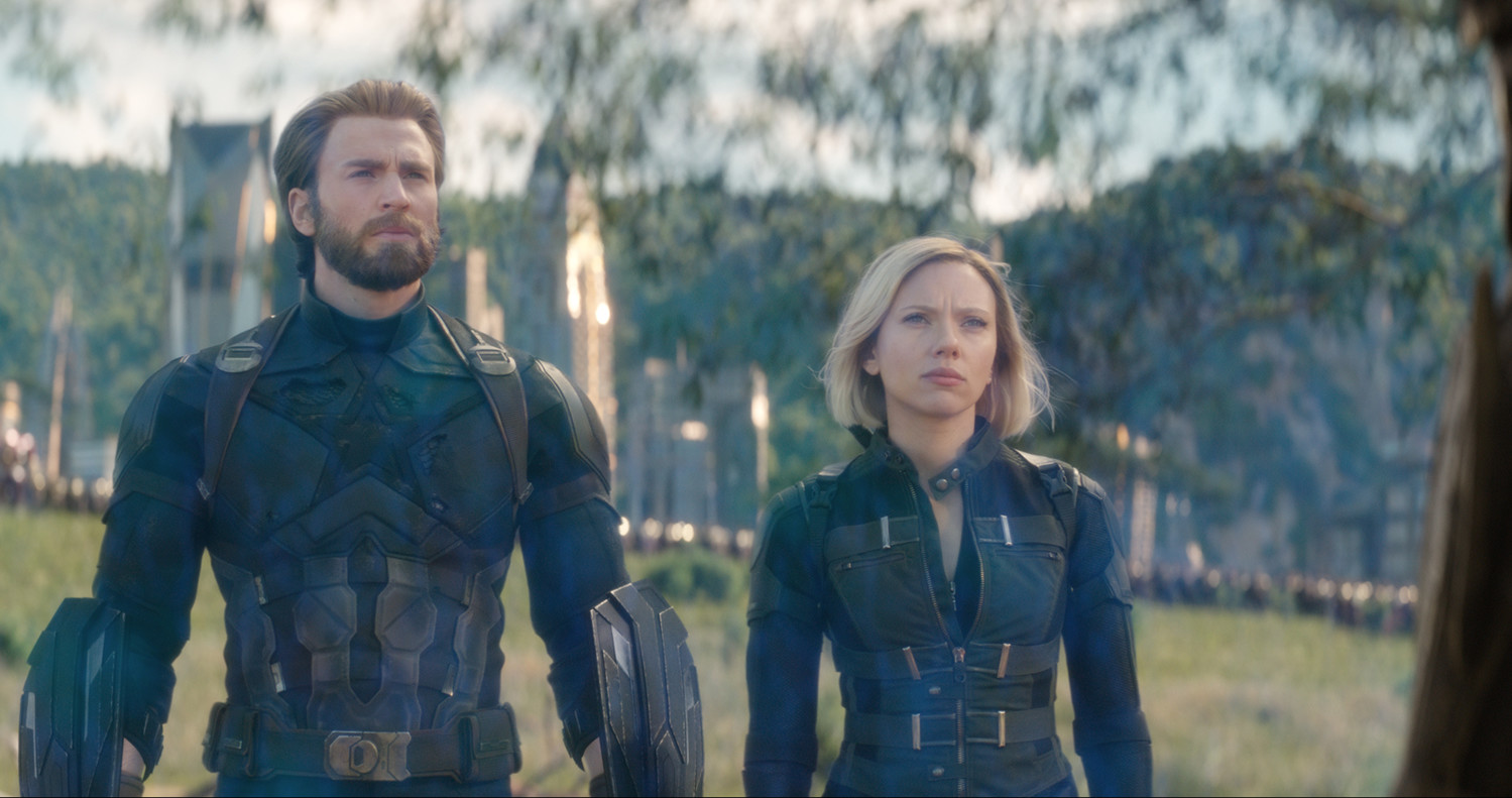 L to R: Captain America/Steve Rogers (Chris Evans) and Black Widow/Natasha Romanoff (Scarlett Johansson).