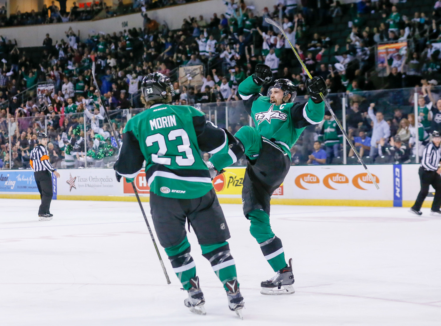 Curtis McKenzie, right, scored the game-winning goal and the Texas Stars beat the Tucson Roadrunners 2-0 on Wednesday to take a 3-1 series lead. Game 5 is Friday in Cedar Park.