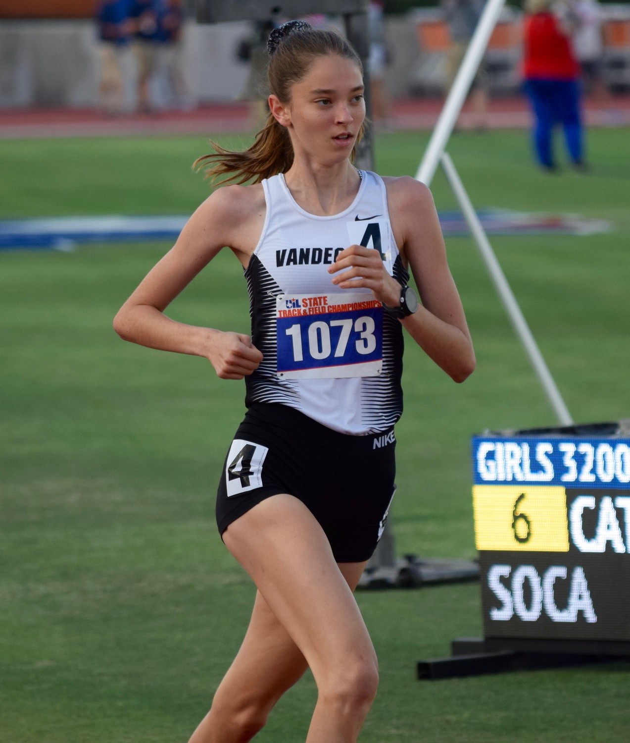 Vandegrift's Jordan Mathis finished ninth with a time of 11:18.44 in the 3200-meter run and ran 1600 meters in 5:05.45, good for seventh place at the State Track & Field meet.