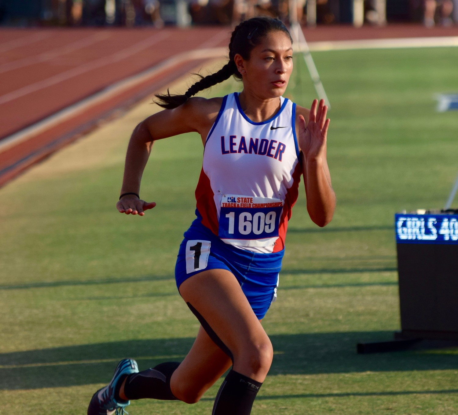 Leander sophomore Elizabeth Roca finished seventh in the girls' 400-meter dash with a time of 59.80 at the State Track & Field meet.