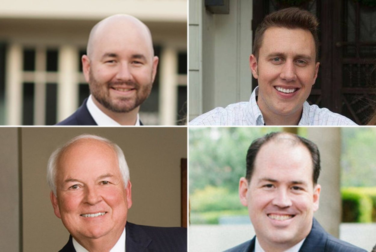 Top row, left to right: Republican runoff candidates Cody Harris and Thomas McNutt, HD-8. Bottom row, left to right: Steve Allison and Matt Beebe, HD-121.