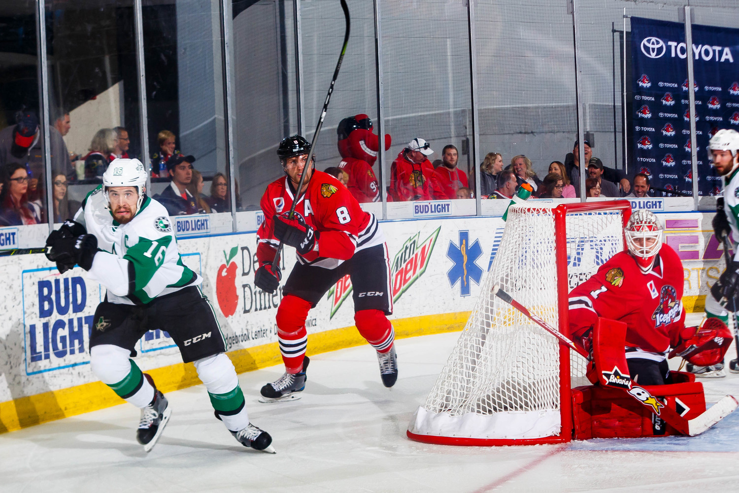 Curtis McKenzie scored in overtime Tuesday night in Rockford to give the Stars a 6-5 win over the IceHogs in Game 3 of the Western Conference Finals. Texas leads the best-of-seven series 3-0 and has won seven straight playoff games.