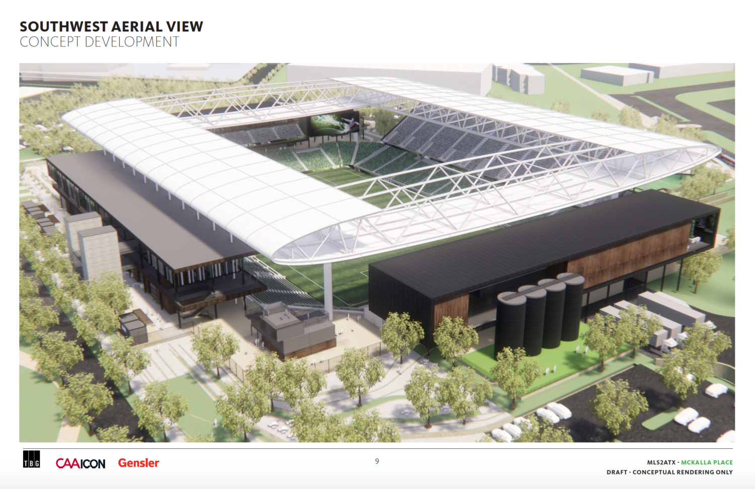 Precourt Sports Ventures released conceptual renderings for a potential stadium and soccer park at McKalla Place on Thursday.