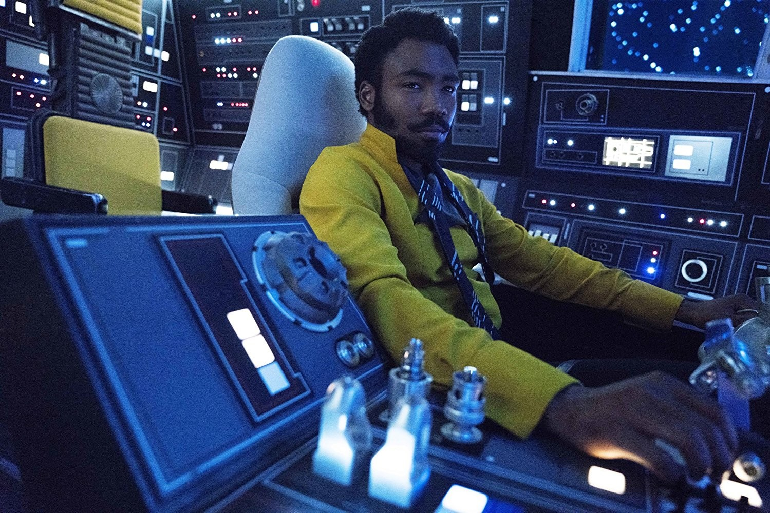 "Donald Glover stars as smuggler and owner of the Millennium Falcon, Lando Calrissian, in ""Solo: A Star Wars Story,"" out in theaters now."