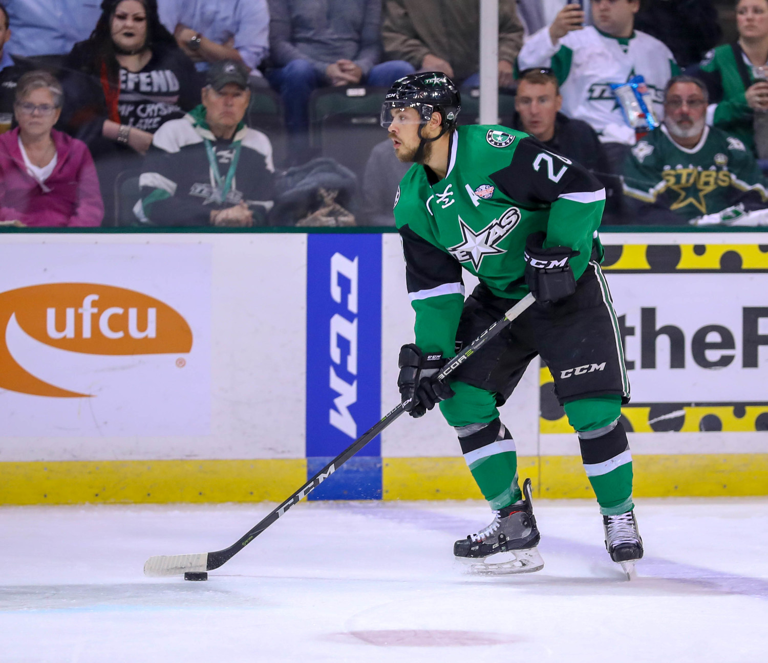 Sheldon Dries, left, scored a goal but the Stars fell to the Marlies 2-1 in Game 3 of the Calder Cup Finals Tuesday night at the HEB Center. Toronto leads the best-of-seven series 2-1 with Game 4 set for Thursday at 7 p.m.