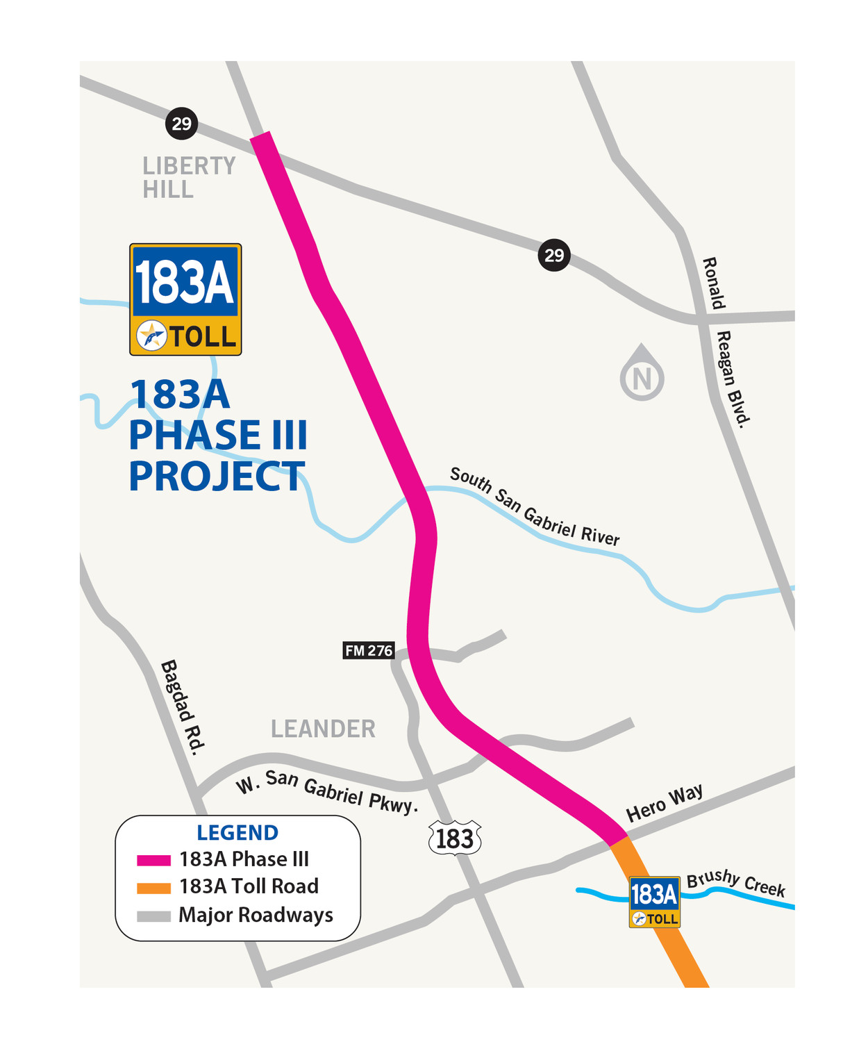 This map excerpt shows the 6-mile stretch of roadway where CTRMA proposes extending 183A from Leander to Liberty Hill.
