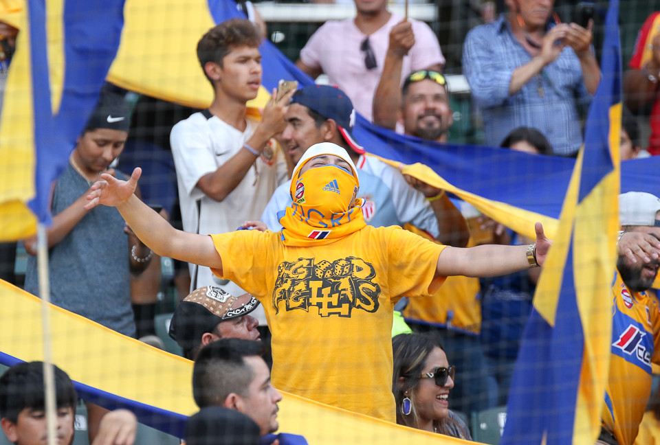 Tigres fans cheer on their team during a Liga MX friendly match between Tigres and Pachuca at Dell Diamond in Round Rock, Texas, on July 8, 2018.