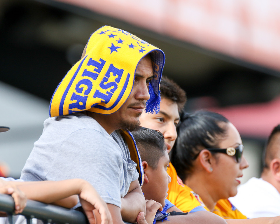 A Tigres fan looks on during a Liga MX friendly match between Tigres and Pachuca at Dell Diamond in Round Rock, Texas, on July 8, 2018.