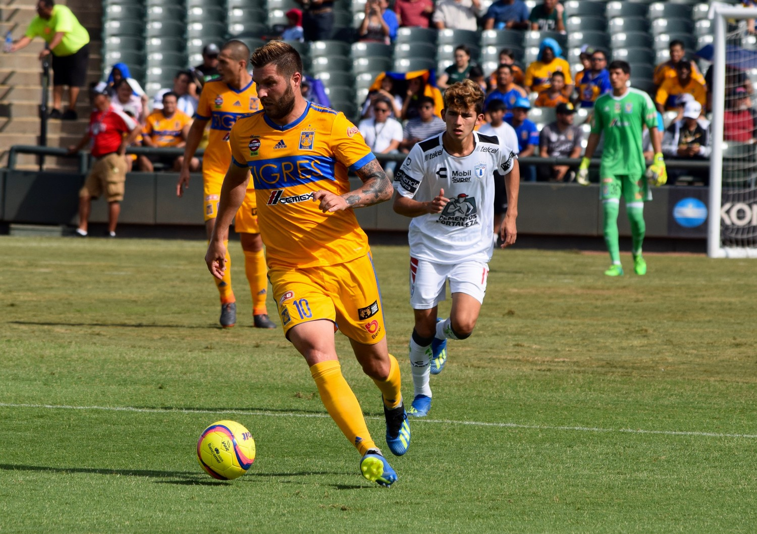 André-Pierre Gignac, left, and Tigres beat Pachuca 2-0 in a friendly at Dell Diamond on Sunday evening.