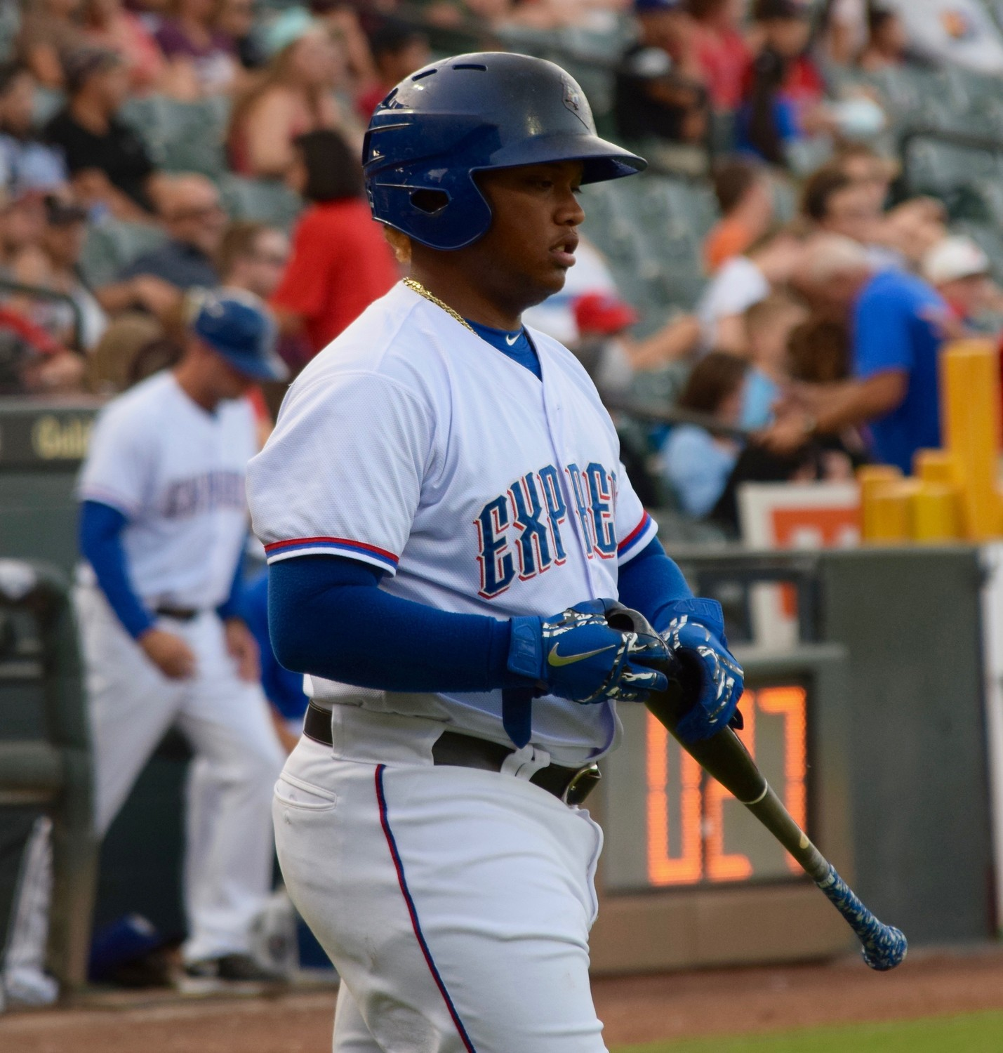 Willie Calhoun saw his career-long 18-game hitting streak snapped as the Express lost to the Oklahoma City Dodgers 11-1 on Sunday night.