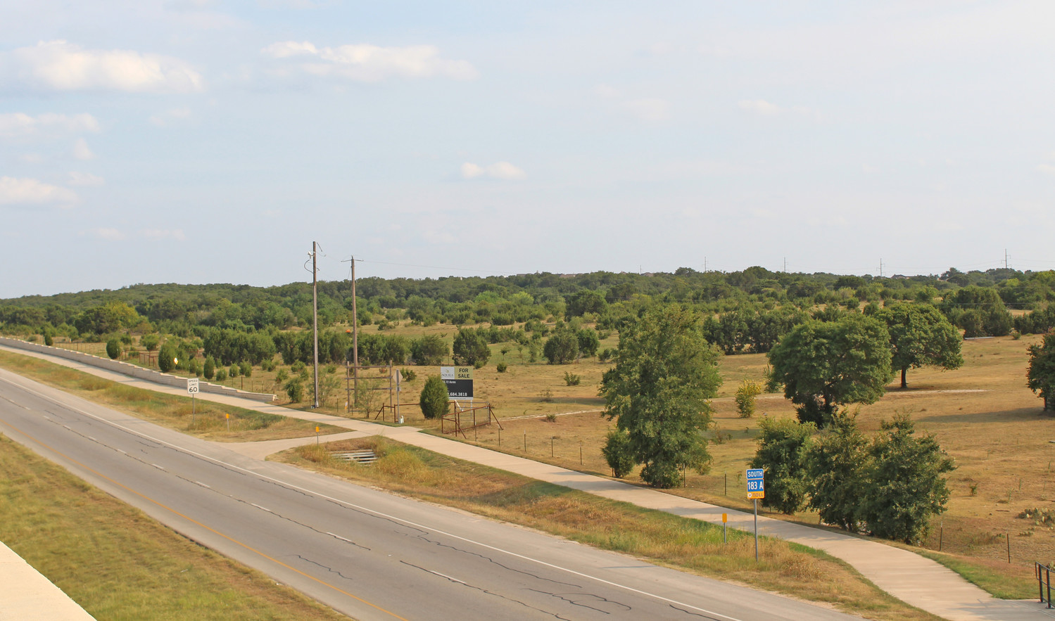 A view of the proposed site of the Leander Springs mixed-use development southwest of the intersection of RM 2243 and the 183A toll road.