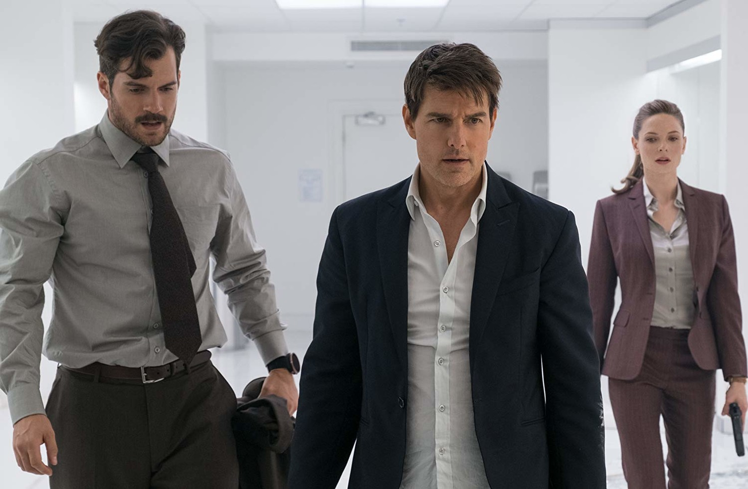 "Henry Cavill, Tom Cruise and Rebecca Ferguson star in ""Mission Impossible: Fallout,"" in theaters now."