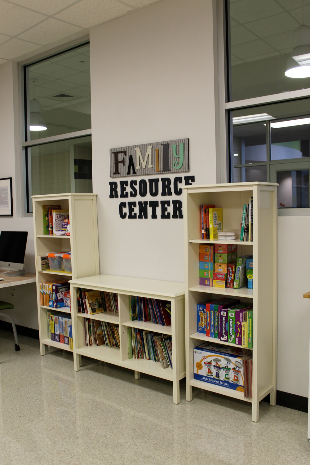 A view of the library inside the Family Resource Center at Christine Camacho Elementary.